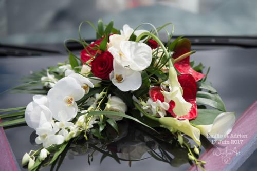 Composition de fleurs exotiques rouges et blanches pour le capot de voiture aromatique fleuriste mariage