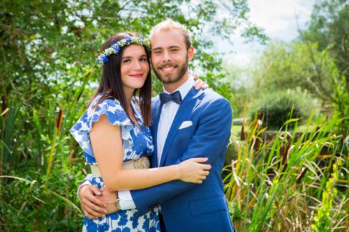 Couronne fleurie assortie à la robe des demoiselles d'honneur aromatique fleuriste mariage