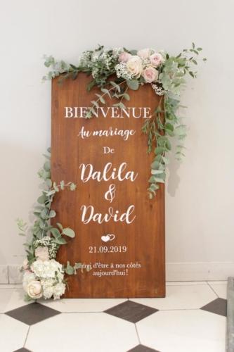 panneau de bienvenue fleuri aromatique fleuriste mariage