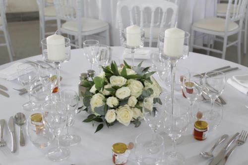 Centre de table et photophores aromatique fleuriste mariage