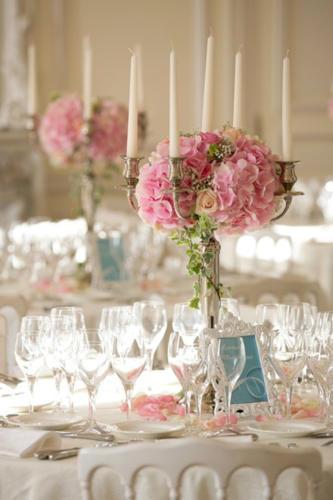 Chandelier fleuri centre de table hortensia rose aromatique fleuriste mariage